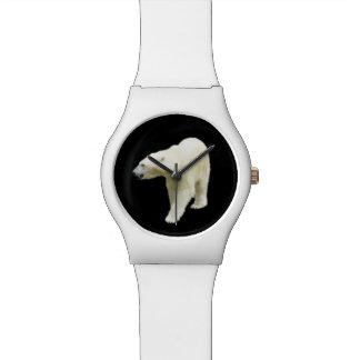 Photo d'ours blanc sur le noir montres bracelet