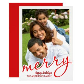 Photo en lettres audacieuse de Noël de joyeux Carton D'invitation 11,43 Cm X 15,87 Cm