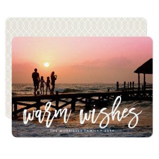 Photo en lettres de vacances de brosse chaude de carton d'invitation  12,7 cm x 17,78 cm