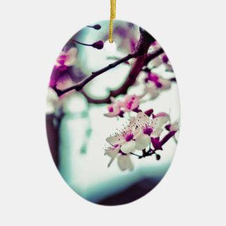 Photo en pastel de fleurs de cerisier ornement ovale en céramique