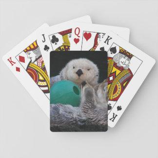 Photo espiègle de loutres de mer jeu de cartes