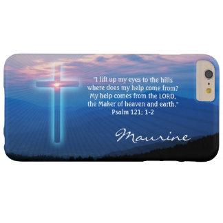 Photo et croix de montagnes. Psaume 121 ; 1-2 Coque iPhone 6 Plus Barely There