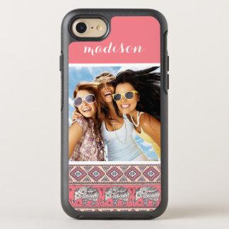Photo et motif ethnique rose d'éléphant de nom coque otterbox symmetry pour iPhone 7