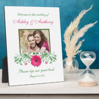 Photo florale de mariage de Gerbera de vert rose d Impression Sur Plaque