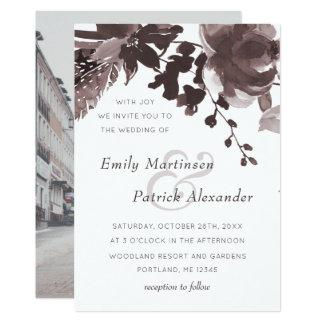 Photo florale de mariage de prune moderne carton d'invitation  12,7 cm x 17,78 cm