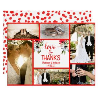 Photo florale de Merci de mariage de pavot rouge Carton D'invitation 8,89 Cm X 12,70 Cm