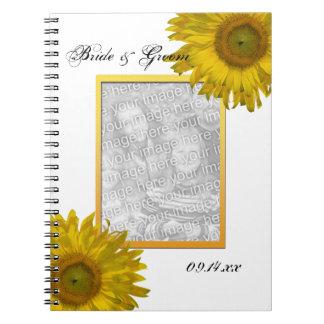 Photo jaune de mariage de tournesol carnet à spirale