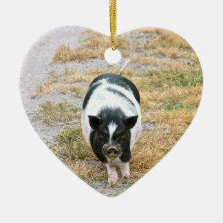 Photo mignonne d'animal de ferme du porc | de ornement cœur en céramique