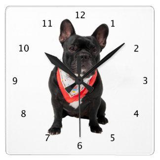 Photo mignonne de chien de bouledogue français bel pendule murale