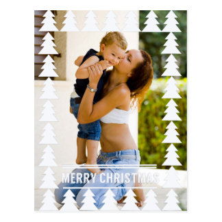 Photo moderne d'arbres de Noël blanc Cartes Postales