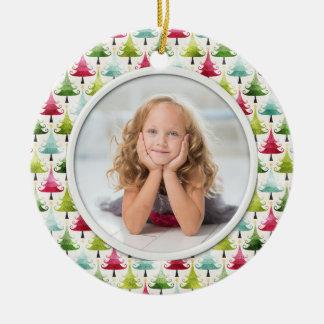 Photo multicolore d'arbres de vacances de Noël Ornement Rond En Céramique