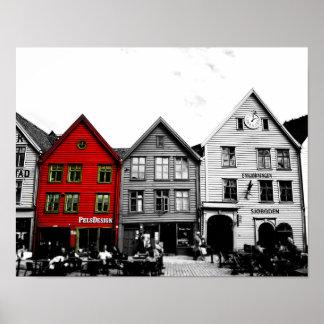Photo noire et blanche de Bergen Norvège avec la Poster
