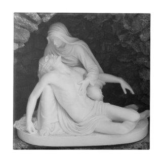 Photo noire et blanche de Jésus et de Mary Petit Carreau Carré