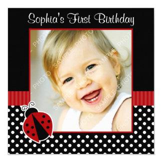 Photo noire rouge d'anniversaire de point de polka carton d'invitation  13,33 cm