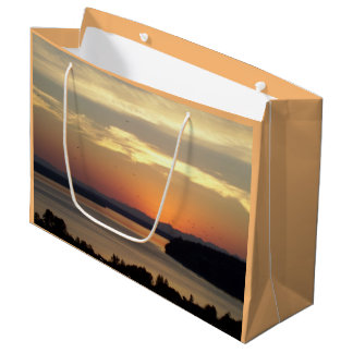 Photo orange de coucher du soleil de paysage marin grand sac cadeau