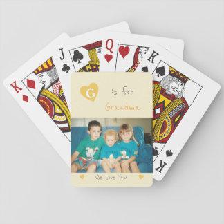 Photo orange et grise de grand-maman personnalisée jeu de cartes