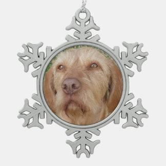 Photo personnalisée d'animal familier de Vizsla de Ornement Flocon De Neige Pewter