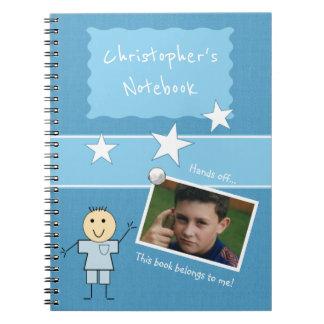 Photo personnalisée de bleu d'enfants carnet
