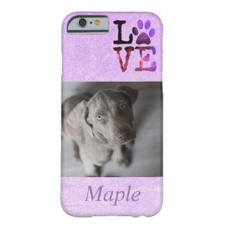Photo personnalisée de chien et cas nommé de coque iPhone 6 barely there