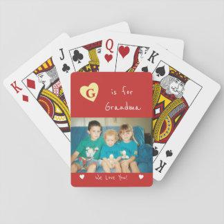 Photo personnalisée de rouge de grand-maman jeu de cartes