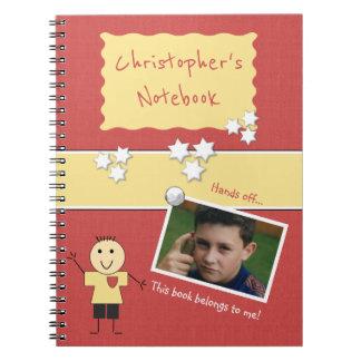 Photo personnalisée de rouge d'enfants carnet