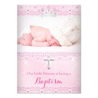 Photo rose de bébé de baptême de diadème de fille carton d'invitation  11,43 cm x 15,87 cm