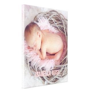 Photo rose de nom de bébé toiles