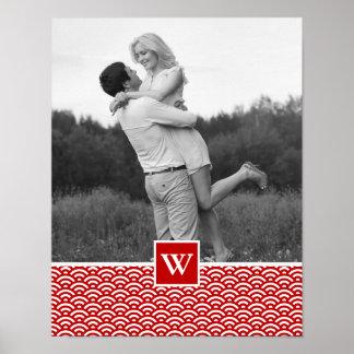Photo rouge du motif | de Japonais avec le Poster