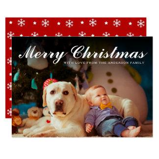Photo rouge et blanche de Joyeux Noël des flocons Carton D'invitation 12,7 Cm X 17,78 Cm