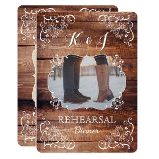 Photo rustique de mariage de région boisée de carton d'invitation  12,7 cm x 17,78 cm