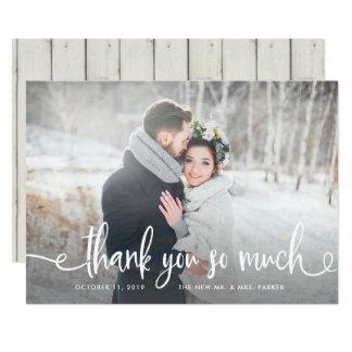 Photo rustique moderne de mariage du Merci | Carton D'invitation 12,7 Cm X 17,78 Cm