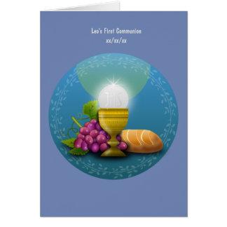 Photo sainte personnalisée d'eucharistie de carte de vœux