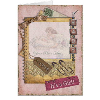 Photo vintage de faire-part d'arrivée de rose de carte de vœux