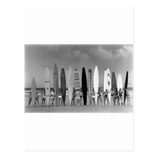 Photo vintage de groupe de surf de panneau de carte postale