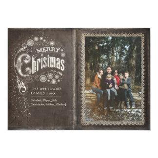 Photo vintage de Joyeux Noël de vieux livre Carton D'invitation 12,7 Cm X 17,78 Cm
