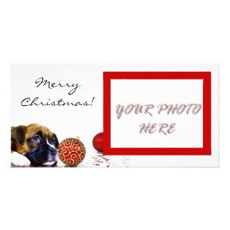 Photocard de chiot de boxeur de Joyeux Noël Photocarte Customisée