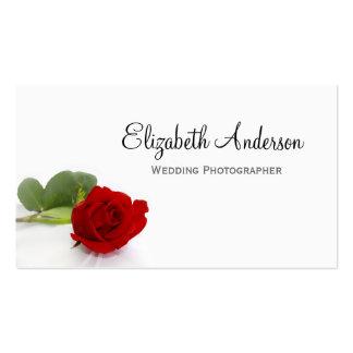 Photographe élégant de mariage de rose rouge carte de visite standard