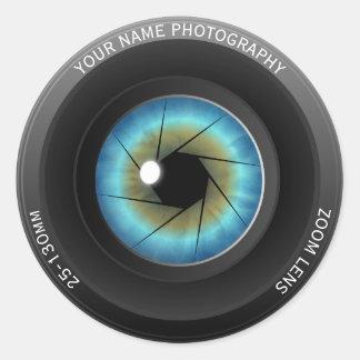 Photographe nommé fait sur commande frais sticker rond