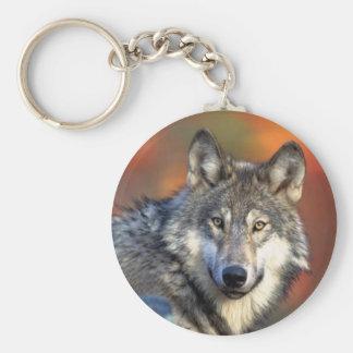 Photographie de loup porte-clé rond