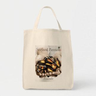 Photographie de moules de fruits de mer avec le tote bag