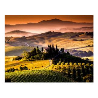 Photographie de paysage de la Toscane, Italie Carte Postale