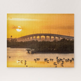 Photographie de voyage de coucher du soleil de la puzzle