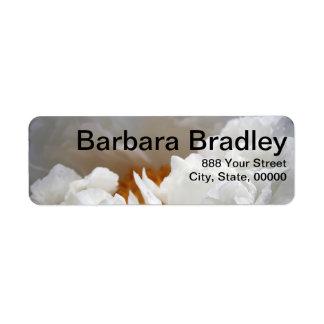 Photographie florale de la pivoine 1 blanc étiquettes d'adresse retour