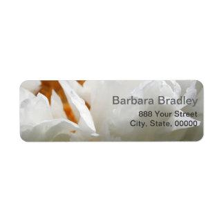Photographie florale de la pivoine 2 blancs étiquette d'adresse retour