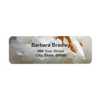 Photographie florale de la pivoine 3 blancs étiquette d'adresse retour