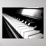 Photographie noire et blanche chique de piano affiches