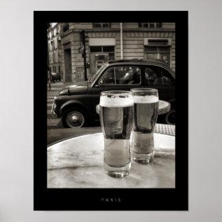 Photographie noire et blanche de Bistros vintages Poster