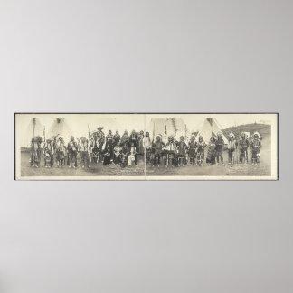 Photographie panoramique vintage de Natif américai Posters