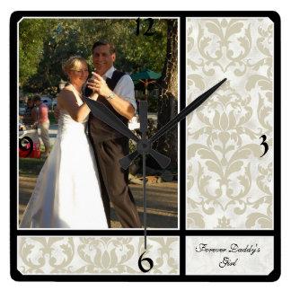 Photographie vintage âgée de mariage de motif de d horloge carrée