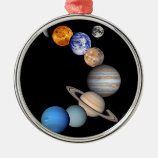 Photos de planète du montage JPL de système Ornement Rond Argenté